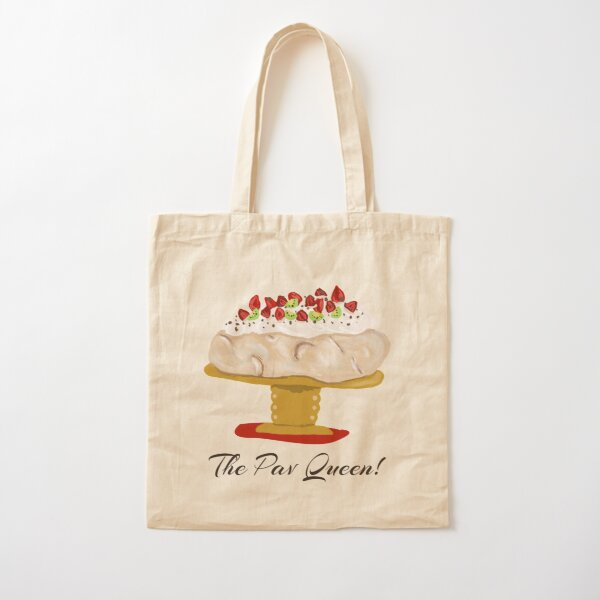 The Pav Queen , pavlova with strawberries and kiwi fruit on stand, Christmas dessert Cotton Tote Bag