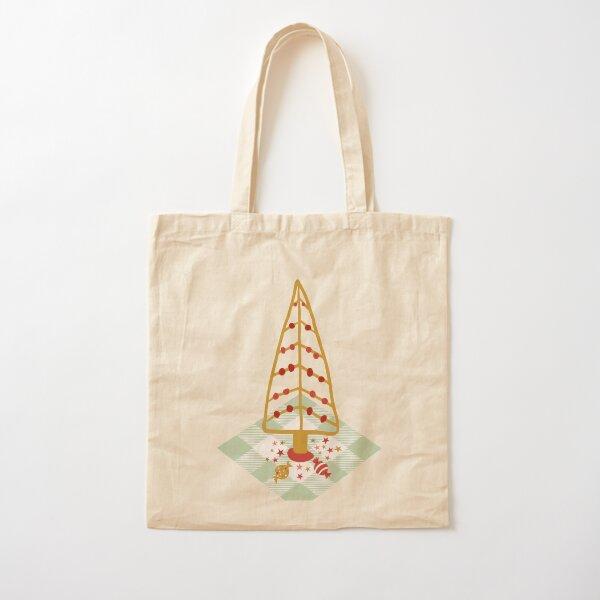 Christmas Tree on checkered cloth with stars and chocolates Cotton Tote Bag