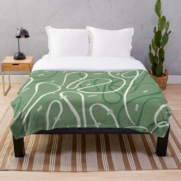 Festive abstract design with green streamers Throw Blanket