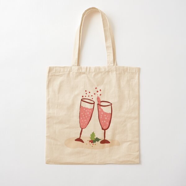Pink champagne cheers - sweet illustration of Christmas drinks - pink bubbles Cotton Tote Bag