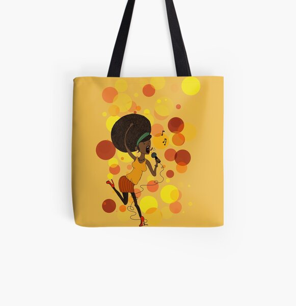 Funky Girl All Over Print Tote Bag
