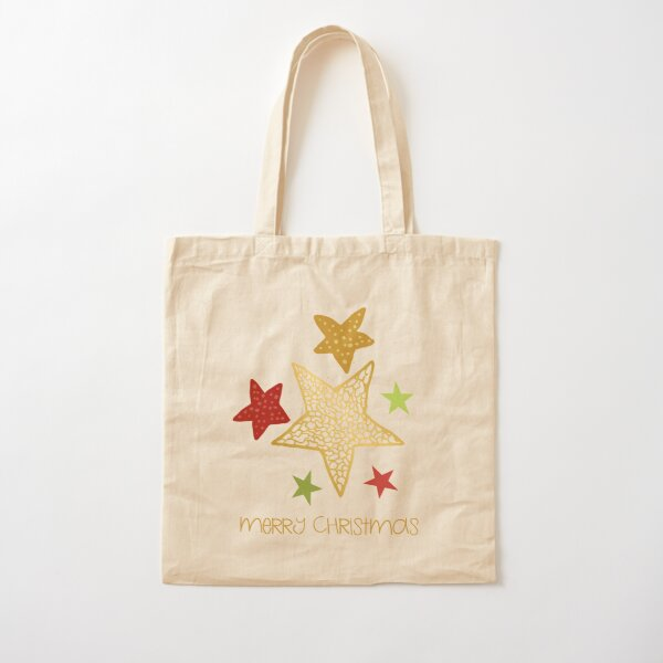 Merry Christmas with illustrated stars - cute gold, green and red stars with christmas greeting Cotton Tote Bag