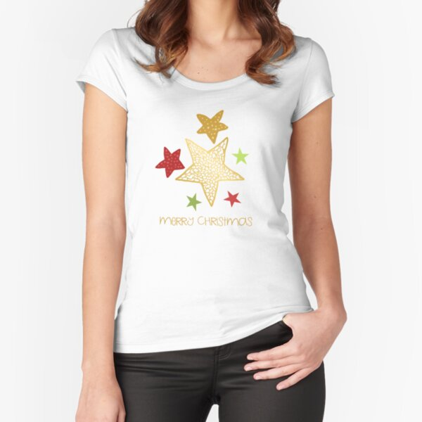 Merry Christmas with illustrated stars - cute gold, green and red stars with christmas greeting Fitted Scoop T-Shirt