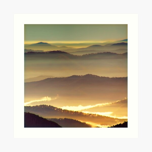 Misty ridge tops Art Print