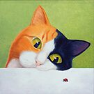 Cat with Ladybird by vickymount