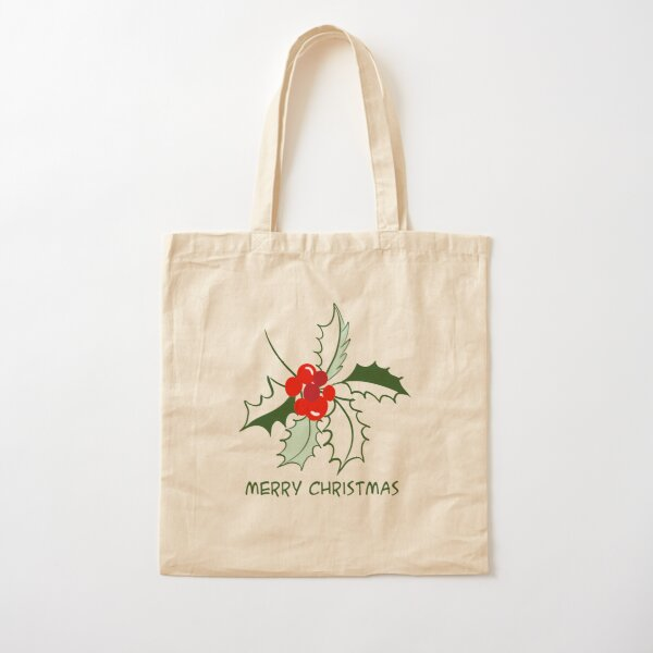 Merry Christmas with illustrated holly - cute green and red holly with christmas greeting Cotton Tote Bag