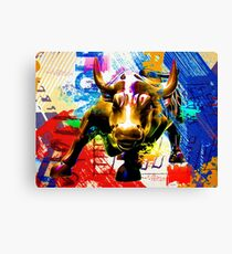 Wall Street Bull Painted Canvas Print