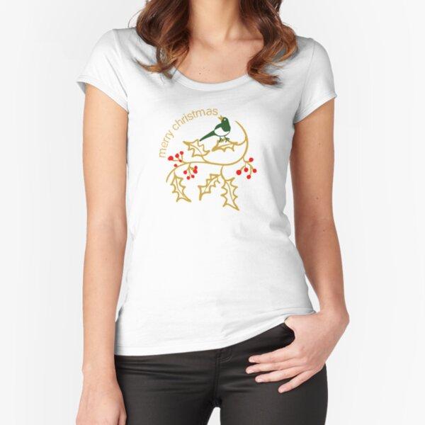 Christmas illustration with simple holly and bird with Merry Christmas greeting Fitted Scoop T-Shirt