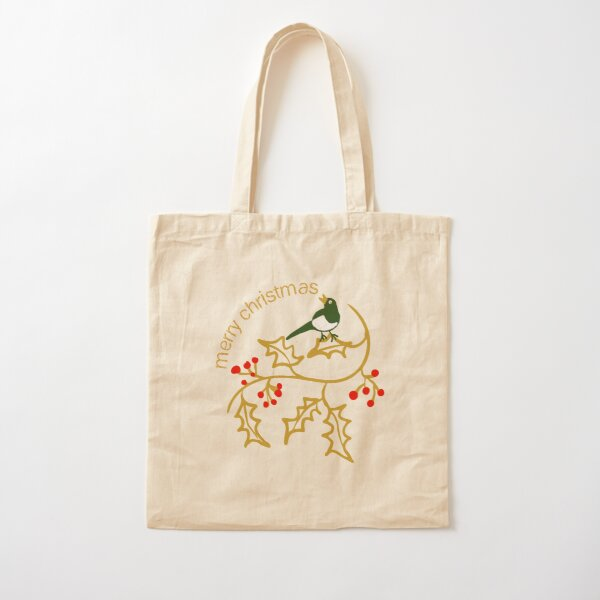 Christmas illustration with simple holly and bird with Merry Christmas greeting Cotton Tote Bag