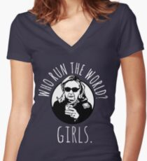 Hillary Clinton Who Run The World Women's Fitted V-Neck T-Shirt