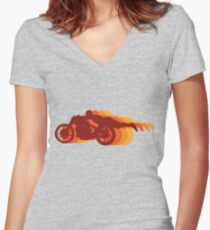 Motorcycle Superman Stunt Women's Fitted V-Neck T-Shirt
