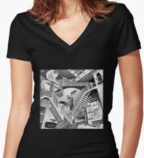 MC Escher Women's Fitted V-Neck T-Shirt
