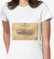 Vintage Pictorial Map of San Francisco (1875) Women's Fitted T-Shirt