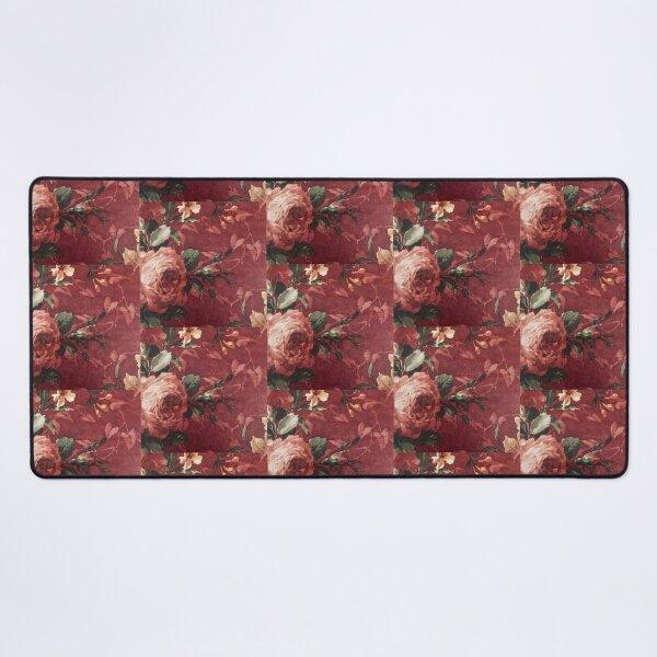 Shabby Chic Vintage Cabbage Rose Burgundy Wallpaper Art Desk Mat