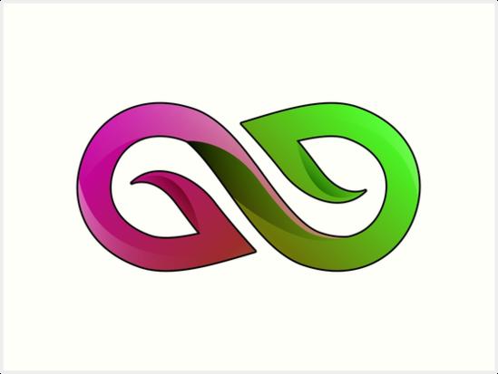 Infinity Symbol Love Green Pink Art Prints By Myhandmadesigns