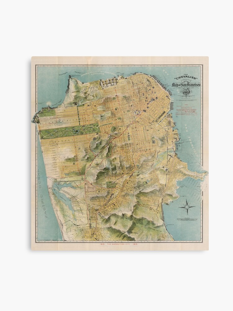 photograph regarding Printable Map of San Francisco named Classic Map of San Francisco (1915) Metallic Print
