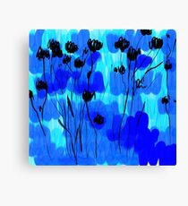 sumi flowers in blue/black Canvas Print