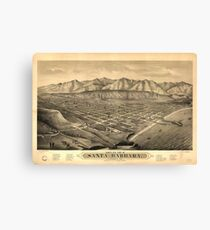 Vintage Pictorial Map of Santa Barbara CA (1877) Canvas Print