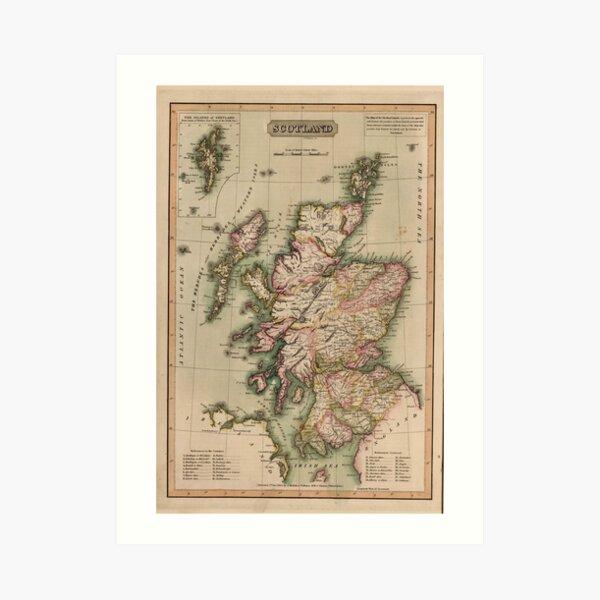 Vintage Map of Scotland (1814)  Art Print