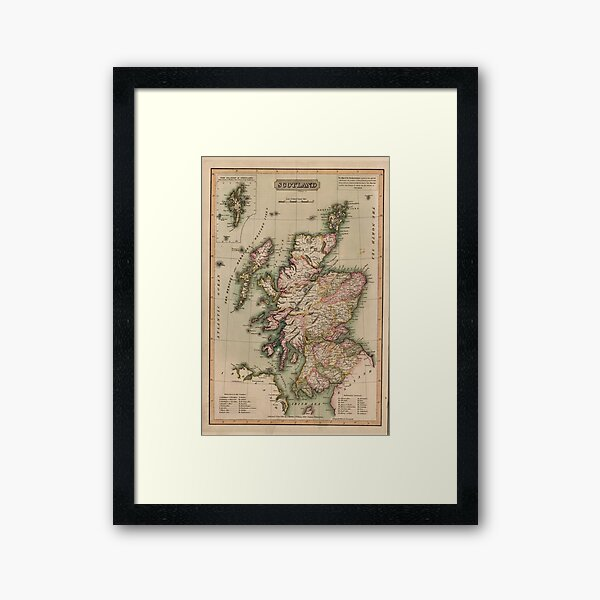 Vintage Map of Scotland (1814)  Framed Art Print