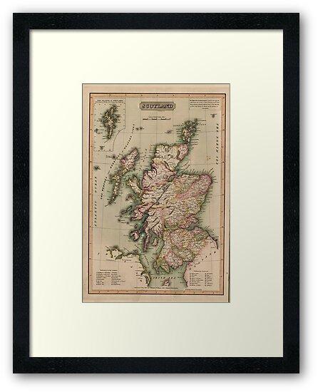 Vintage Map of Scotland (1814)  by BravuraMedia