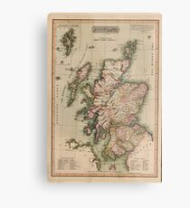 Vintage Map of Scotland (1814)  Metal Print