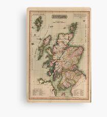 Lienzo Mapa vintage de Escocia (1814)