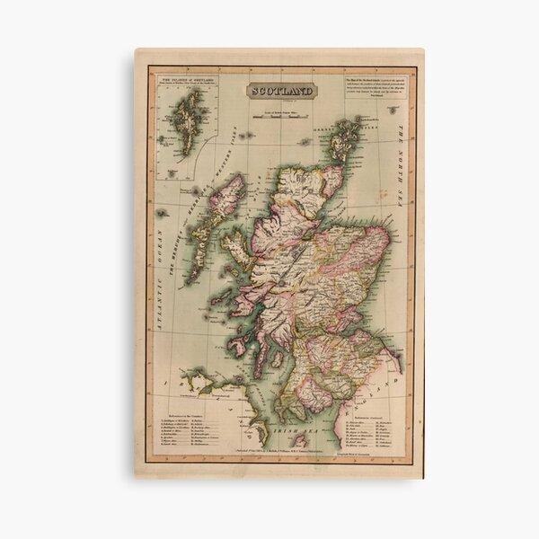 Mapa vintage de Escocia (1814) Lienzo