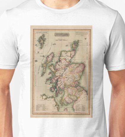 Vintage Map of Scotland (1814)  Unisex T-Shirt
