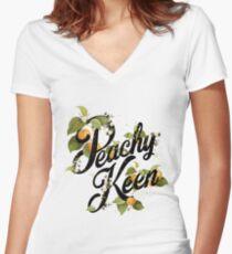 Peachy Keen : Mint Women's Fitted V-Neck T-Shirt