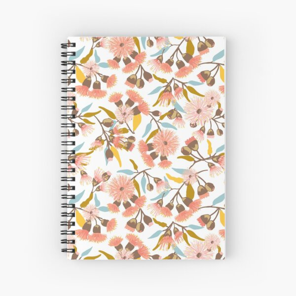 Flowering Gum Blossoms pattern in modern coral pink, mustard, gold and blue colours - pretty feminine design Spiral Notebook