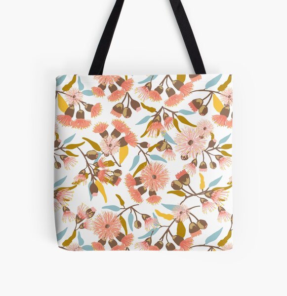 Flowering Gum Blossoms pattern in modern coral pink, mustard, gold and blue colours - pretty feminine design All Over Print Tote Bag