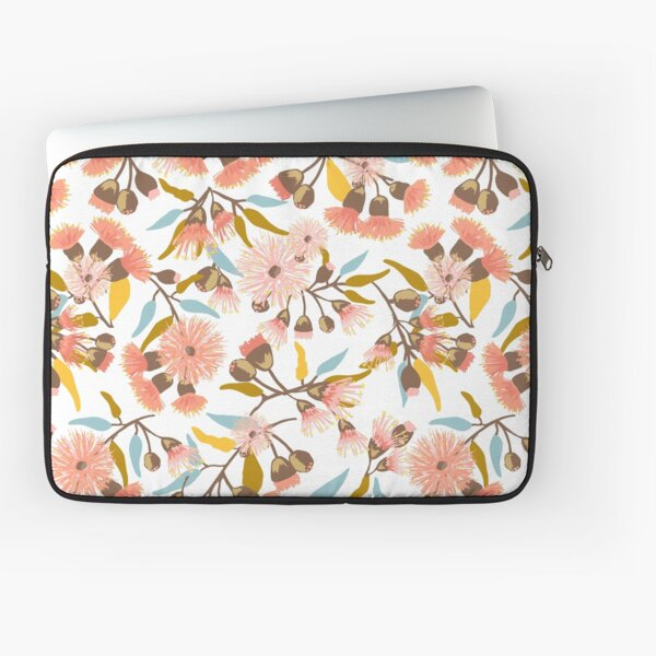 Flowering Gum Blossoms pattern in modern coral pink, mustard, gold and blue colours - pretty feminine design Laptop Sleeve