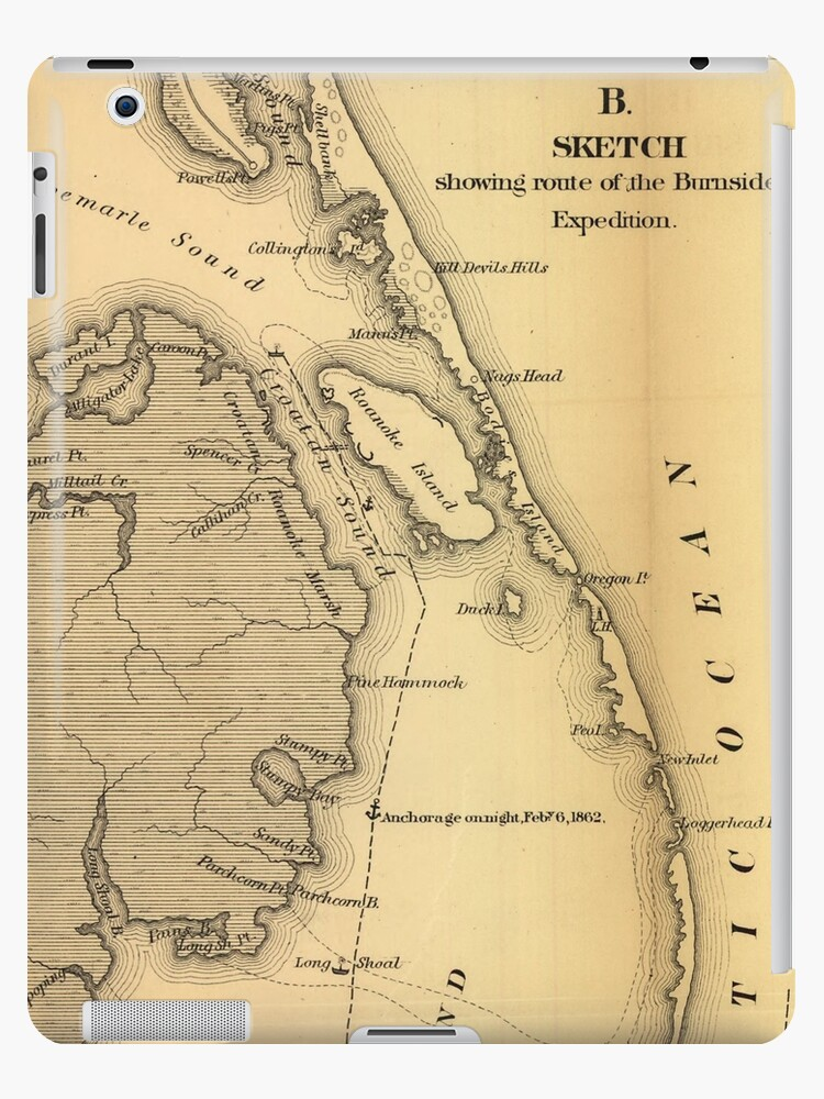 \'Vintage Map of The Outer Banks (1862)\' iPad Case/Skin by BravuraMedia