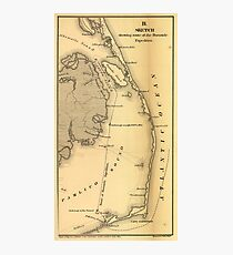 Vintage Map of The Outer Banks (1862) Photographic Print