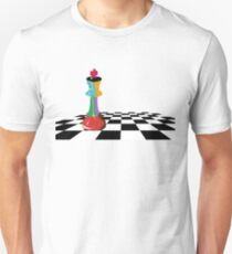 Colored Chess King Piece on Chessboard Unisex T-Shirt