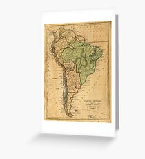 Vintage Map of South America (1821) Grußkarte