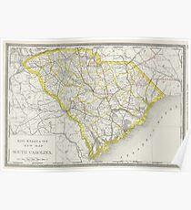 Vintage Map of South Carolina (1889) Poster