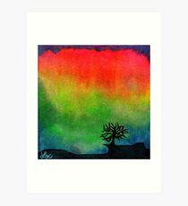 Aurora Australis with Tree Art Print
