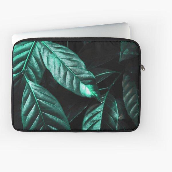 Shiny Emerald Green Leaves Laptop Sleeve