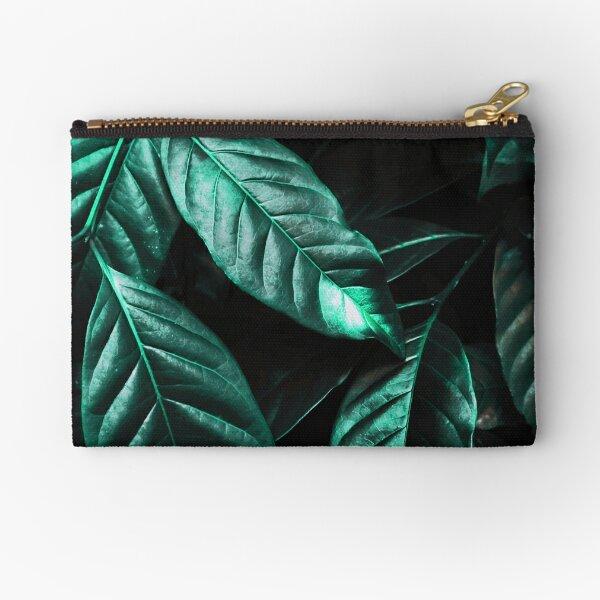 Shiny Emerald Green Leaves Zipper Pouch