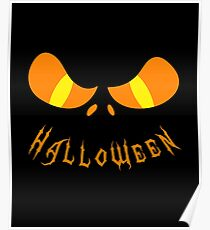 Scary Halloween Monster Face Orange Poster