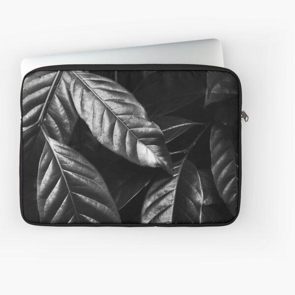Shiny Black And White Leaves Laptop Sleeve