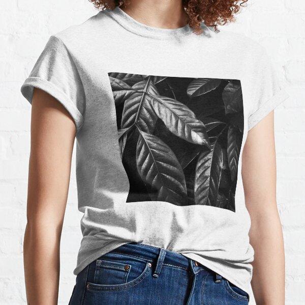 Glänzende schwarz-weiße Blätter Classic T-Shirt