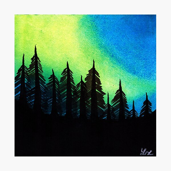 Aurora Borealis with Trees Photographic Print