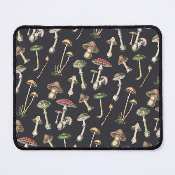 Mushrooms Botanical Illustration on charcoal Mouse Pad