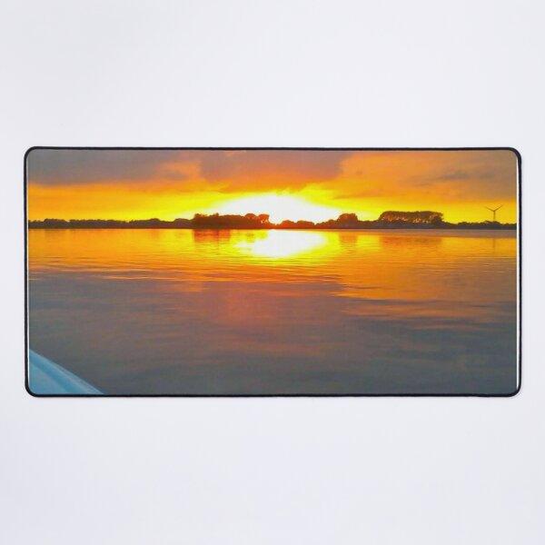Sailing Motionless Water At Sunset Desk Mat