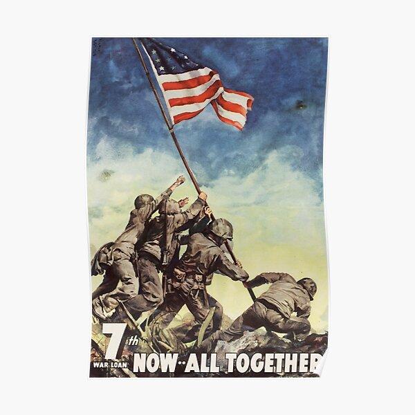 Iwo Jima. American, War, POSTER, USA, Raising the Colours, America, Americana, WW2, WWII. Poster