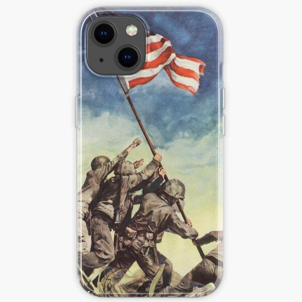 Iwo Jima. American, War, POSTER, USA, Raising the Colours, America, Americana, WW2, WWII. iPhone Soft Case
