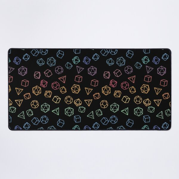 DnD Dice Rainbow on Black Pattern Desk Mat